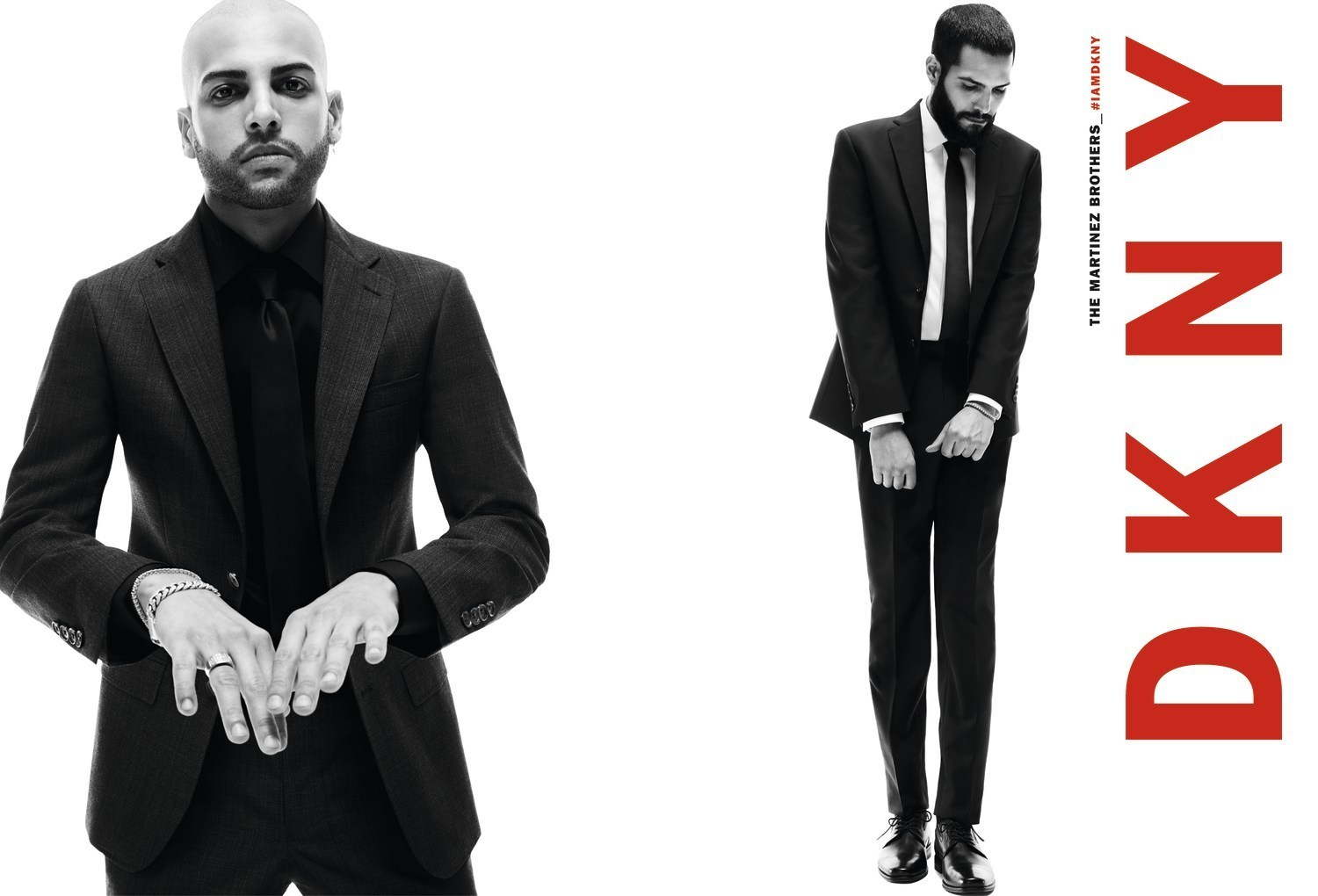 Photographie du duo New Yorkais The Martinez Brother en costume  et cravate noir réalisé par l'agence Luxe Mazarine pour DKNY Fall19